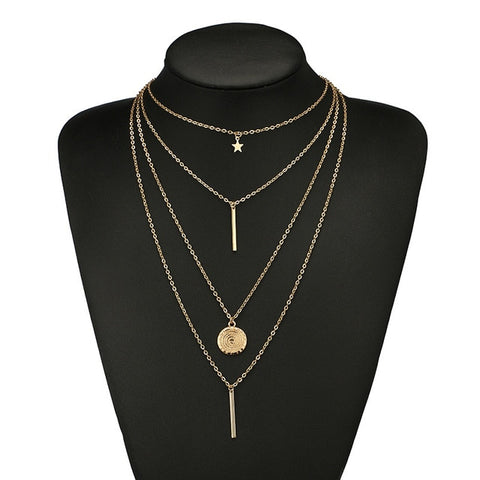 Multi Layer Golden Star Necklace