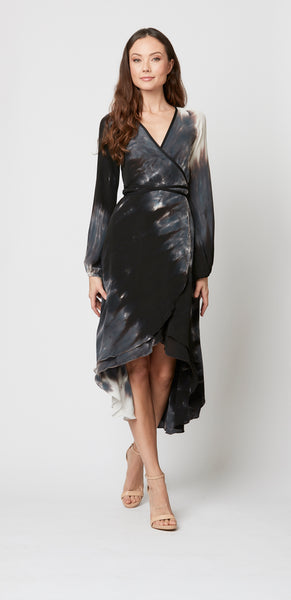 Jennifer Wrap Dress in 100% Silk Georgette
