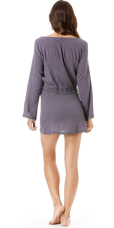 Long Sleeve Gauze Beach Cover-up
