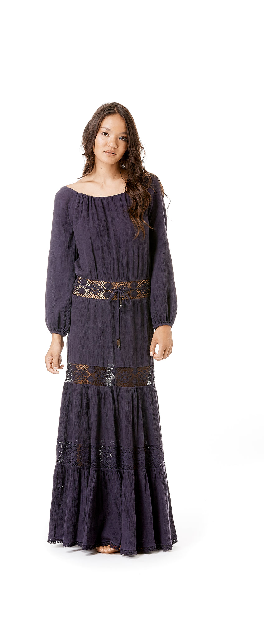 Long Sleeve Gauze Hippie Dress