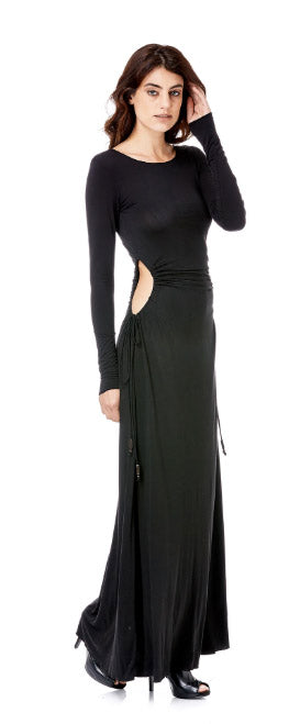 Long sleeve Adjustable Side Circle Cutout Maxi Dress