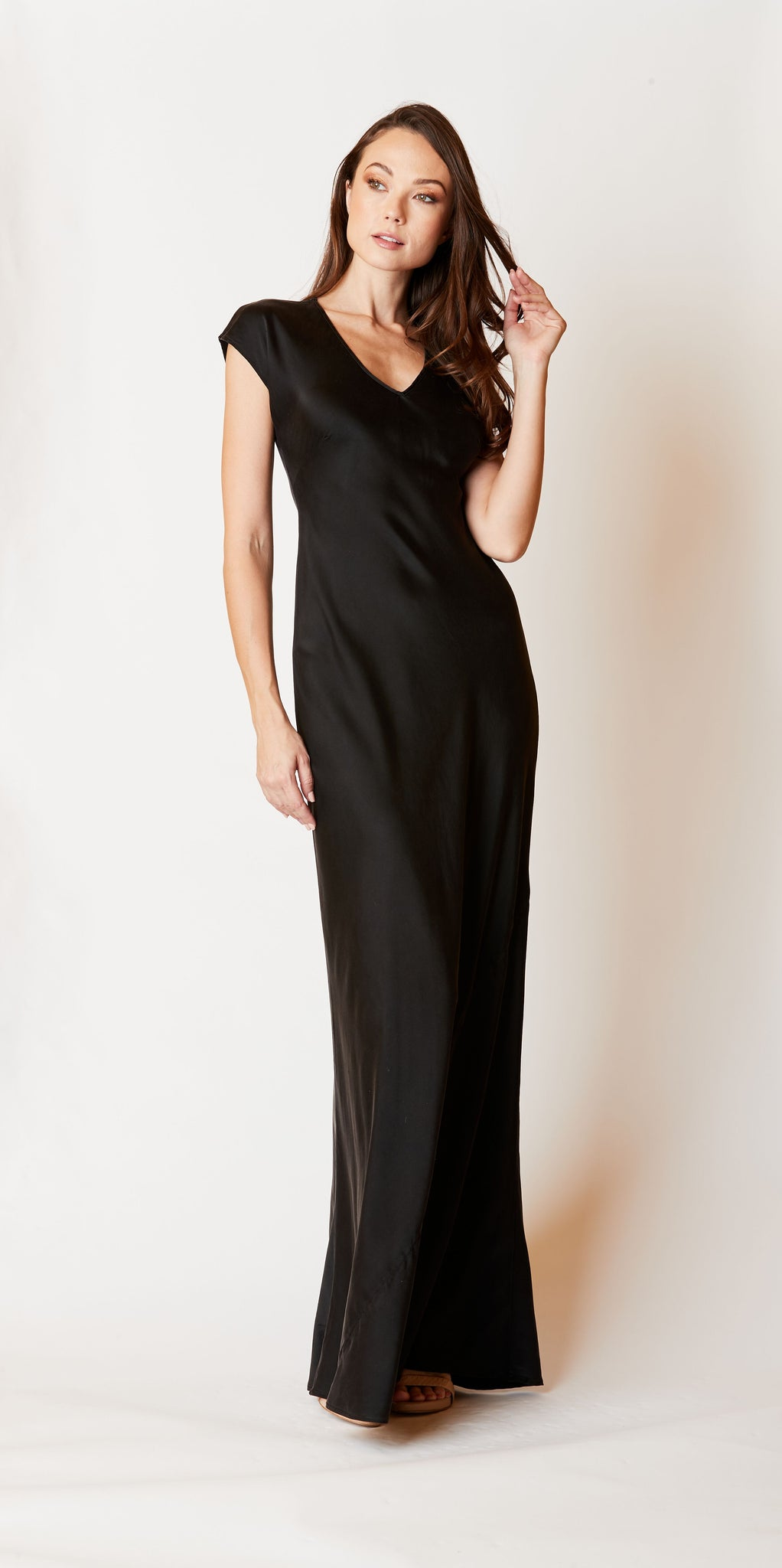 Charmeuse Cap Sleeve Maxi dress