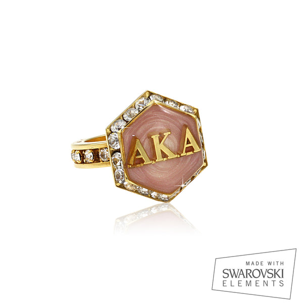 "AKA Swarovski® ""Pretty in Pink"" Starbella Gold Ring"