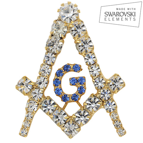 "Masonic Swarovski® Crystal Gold ""Creativity"" Tie Tack/ Lapel Pin"