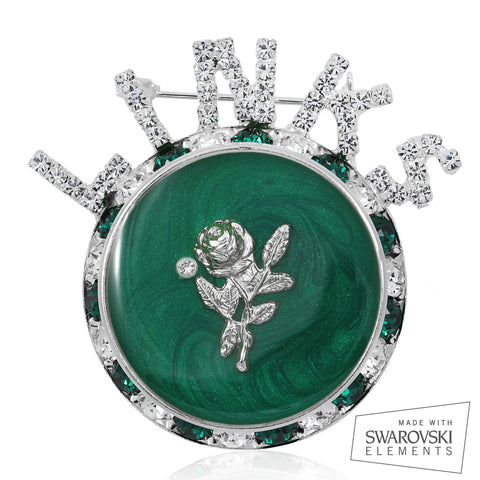 "Links, Inc ""Premier White Rose"" Emerald Pin"