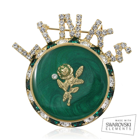 "Links, Inc ""Premier White Rose"" Emerald Gold Pin"