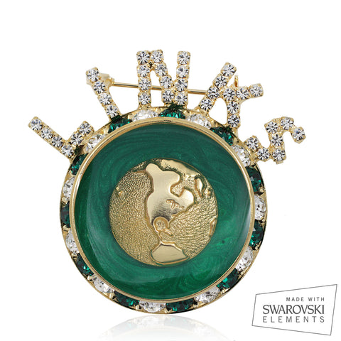 "Links, Inc ""World Visions"" Emerald and Gold Pin"