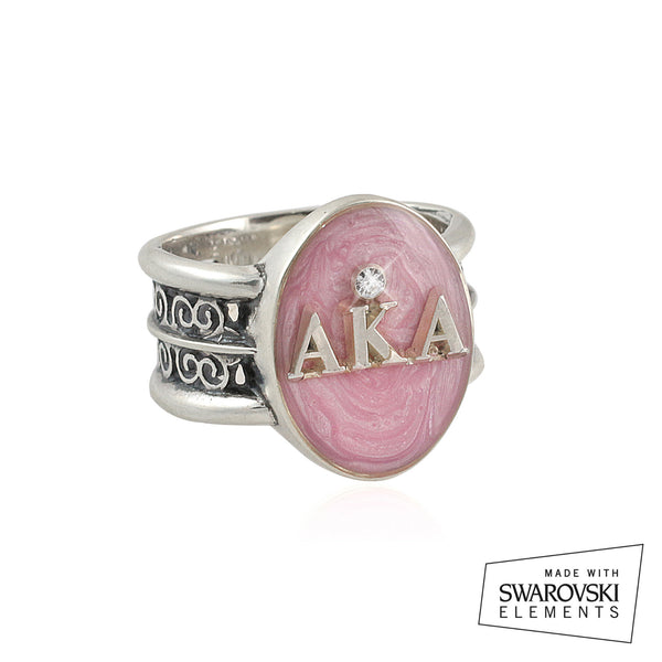 "Alpha Kappa Alpha Swarovski® ""Rio"" Collection Silver Pink Ring"