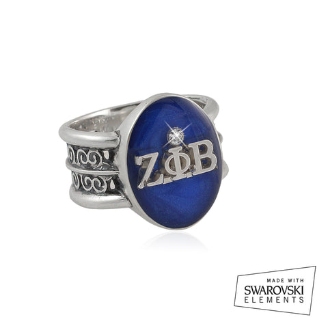"Zeta Phi beta Swarovski® ""Rio"" Collection Silver Ring"