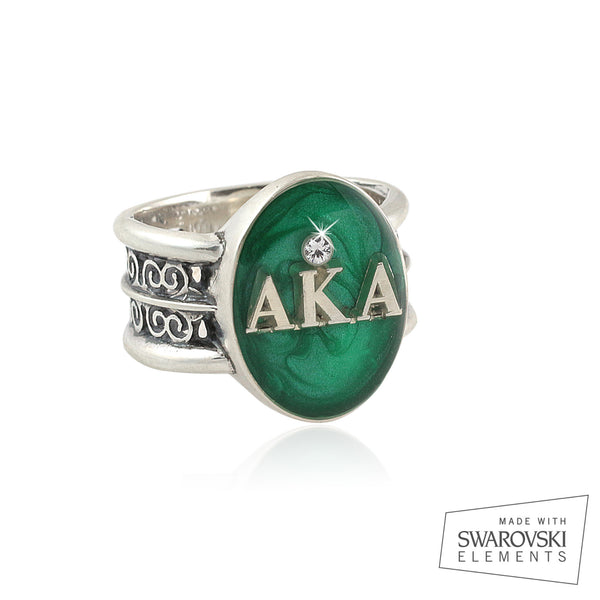 "Alpha Kappa Alpha Swarovski® ""Rio"" Collection Silver Emerald Ring"