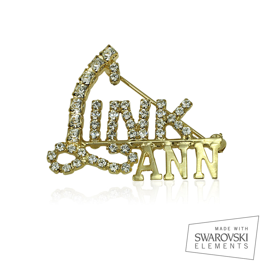 "Links Swarovski® Custom Name ""Crystal Scripts"" Pin"