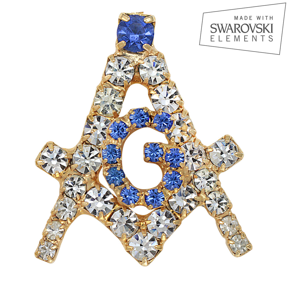 "Masonic Mini Swarovski® Crystal Gold ""Creativity"" Tie Tack/ Lapel Pin"