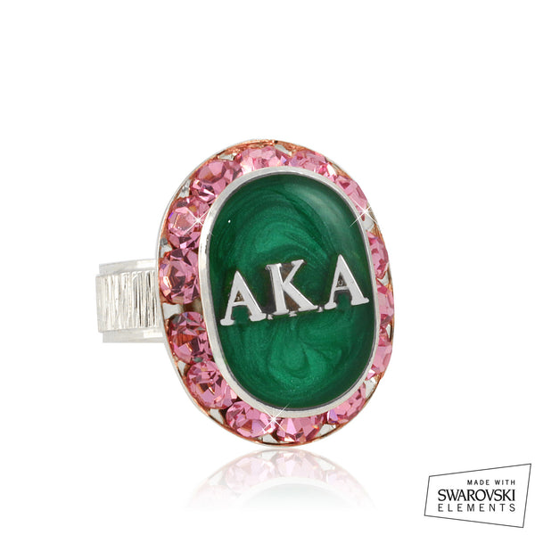 "AKA Swarovski® ""Encrusted Jewel"" Oval Silver Ring"