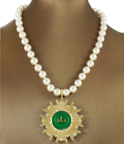 "AKA Swarovski® Emerald ""Pristine Star"" Extravagant Necklace/Pin with Pearls"