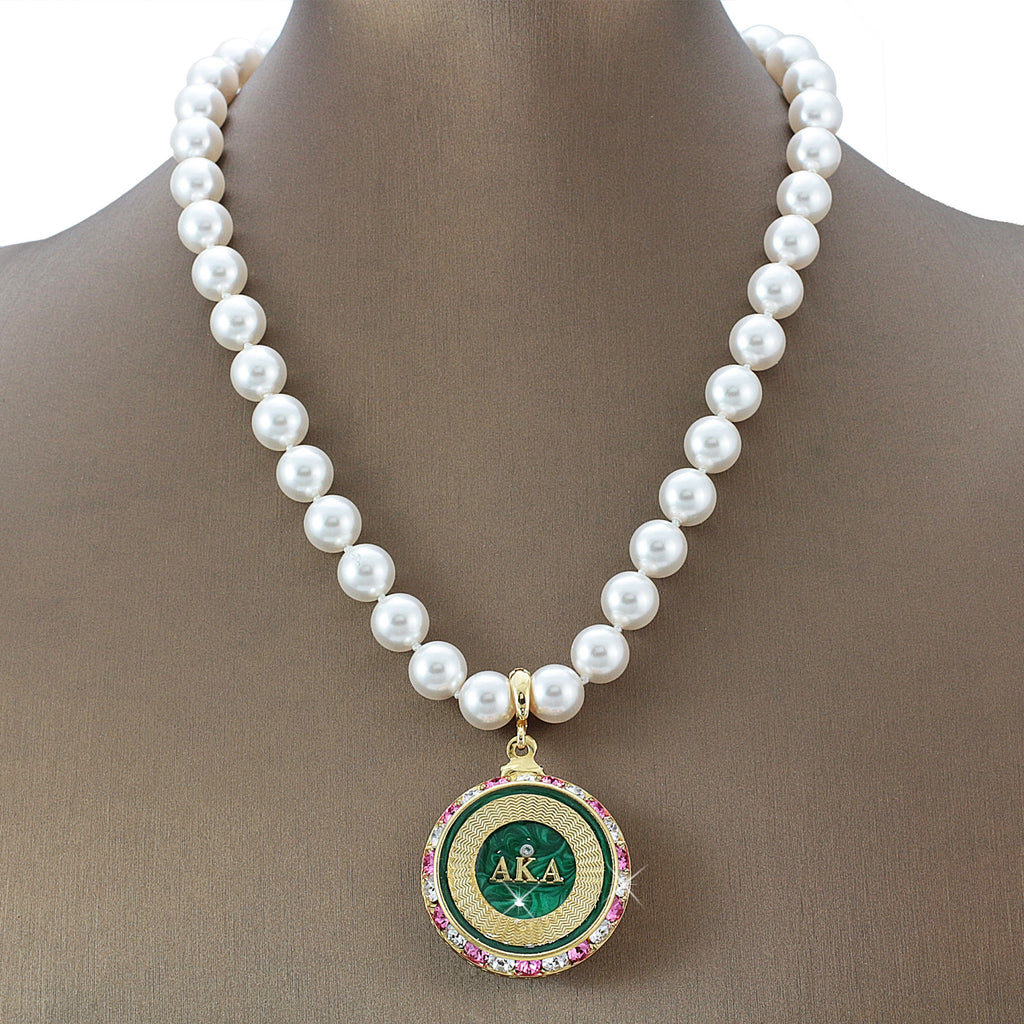 "Alpha Kappa Alpha Swarovski® Grande ""Graceful One"" Necklace with Pearls"