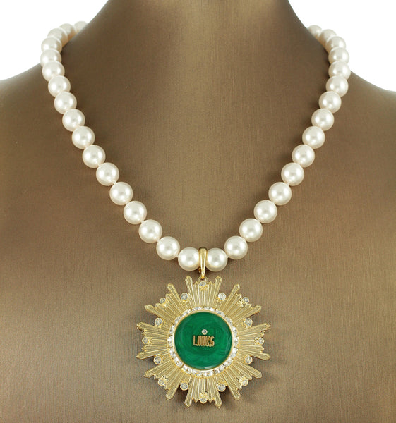 "Links, Inc Swarovski® Emerald ""Pristine Star"" Extravagant Necklace/Pin with Pearls"