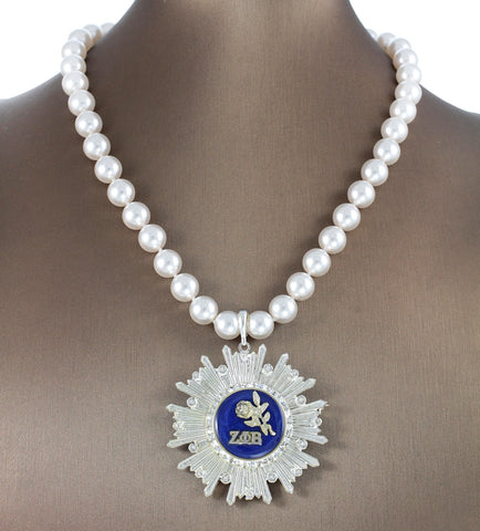 "Zeta Phi Beta Swarovski® ""Pristine Dove"" Extravagant Necklace/Pin with Pearls"