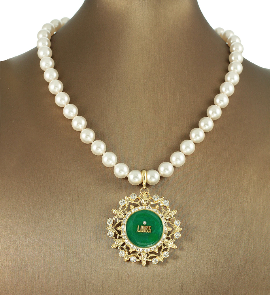 "Links, Inc Swarovski® Emerald ""Glamorous"" Extravagant Necklace/Pin with Pearls"