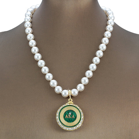 "Alpha Kappa Alpha Swarovski® Grande ""Majestic"" Necklace with Pearls"