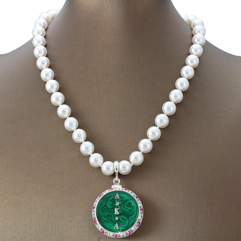 "Alpha Kappa Alpha Swarovski® Grande ""Extravagance"" Necklace with Pearls"