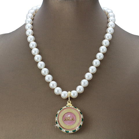 "Alpha Kappa Alpha Swarovski® Grande ""Luxe"" Necklace with Pearls"