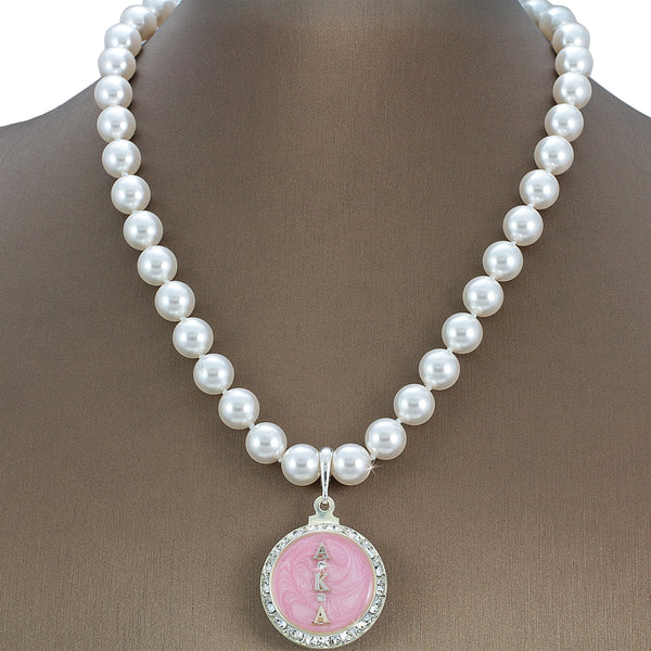 "Alpha Kappa Alpha Swarovski® Infinity ""Royal"" Necklace with Pearls"
