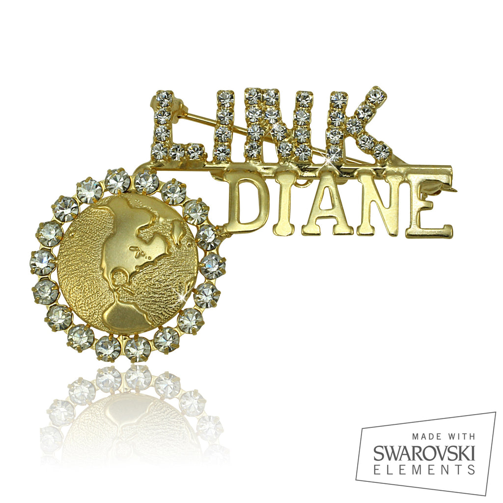 "Links Swarovski® Custom Name ""Purity"" Pin"