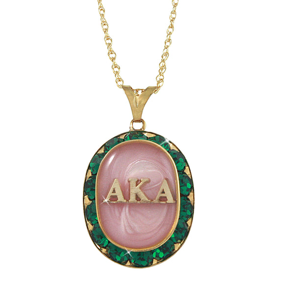 AKA Swarovski® Oval Classic Pink and Green Gold Necklace