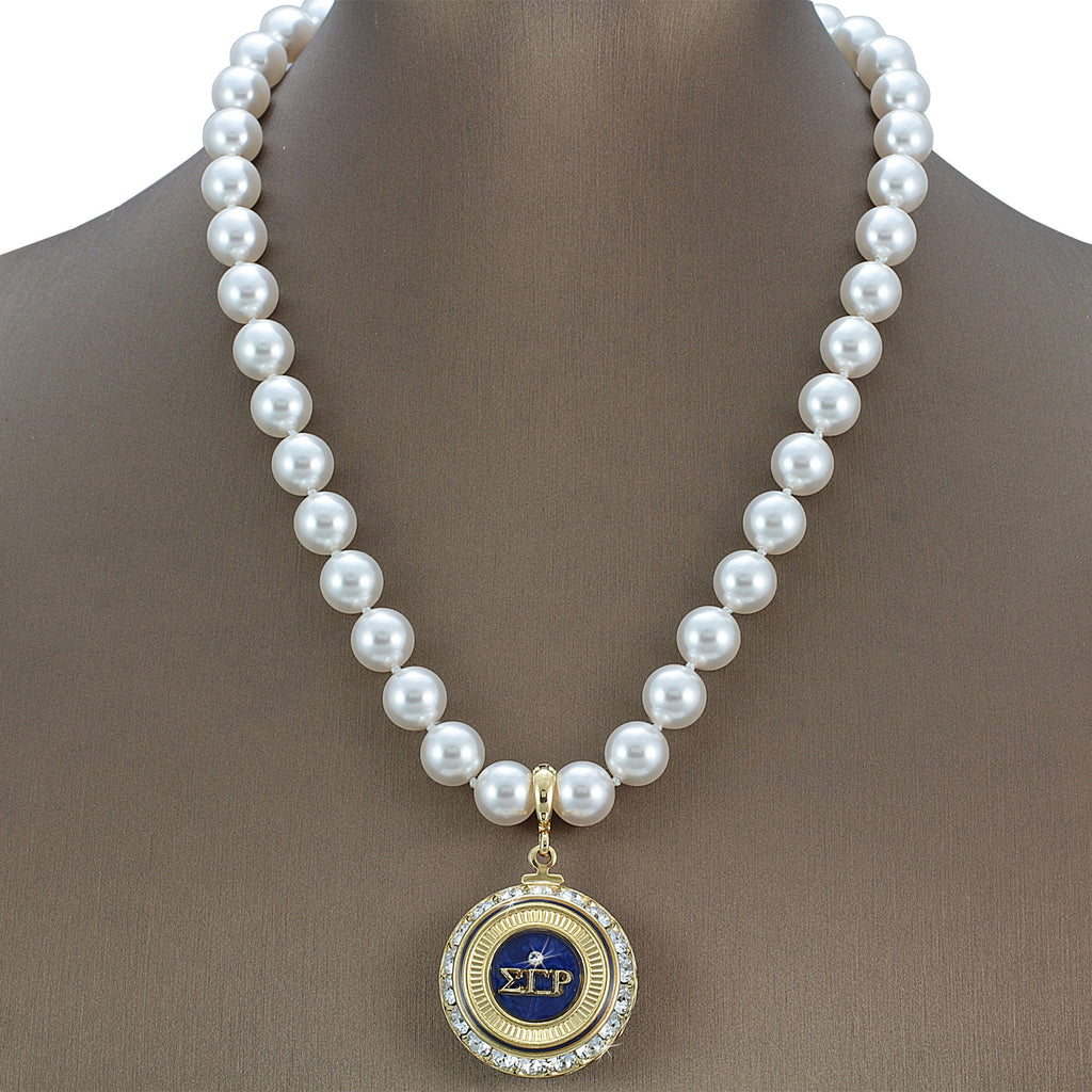 "Sigma Gamma Rho Swarovski® Infinity ""Immaculate"" Necklace with Pearls"