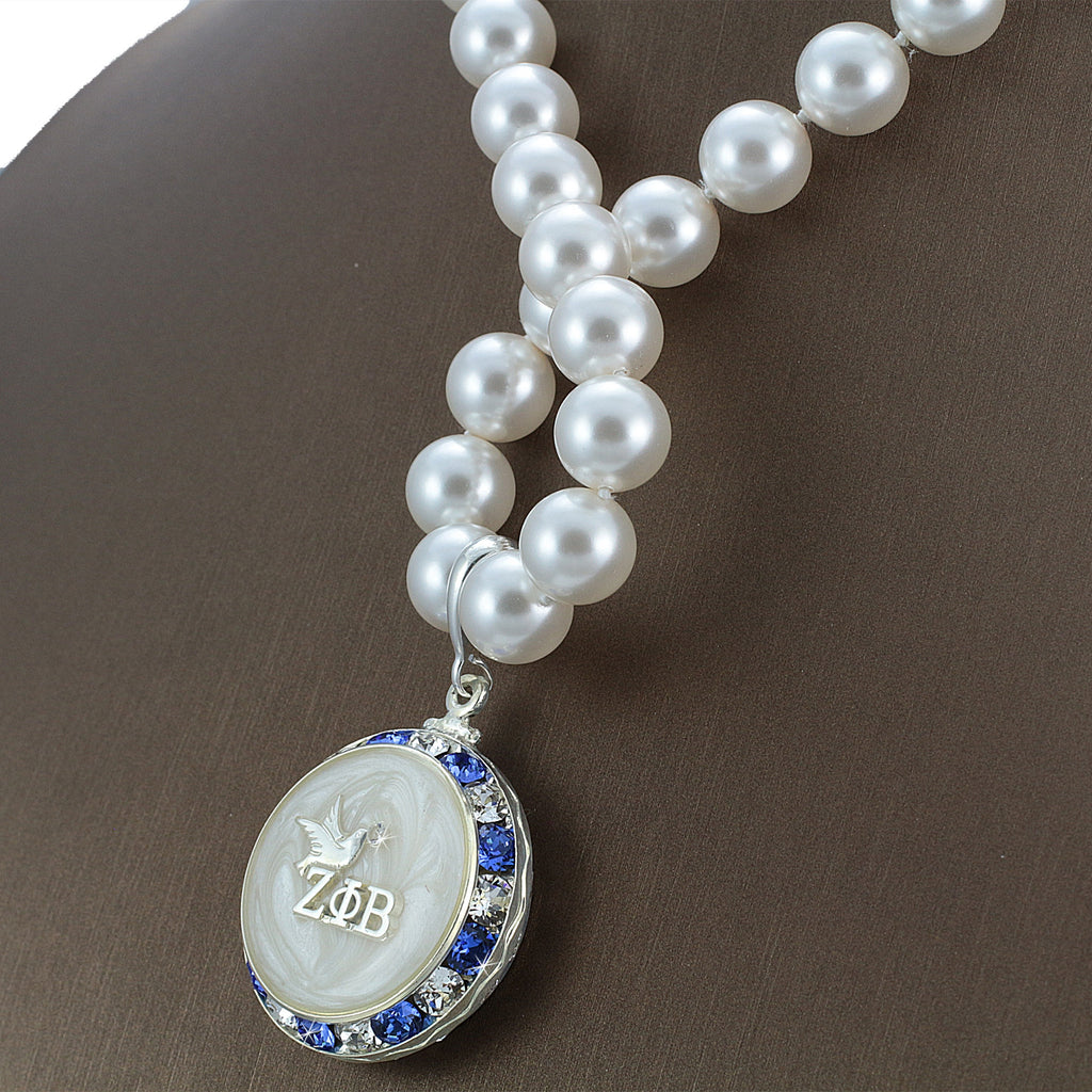 "Zeta Phi Beta Swarovski® Infinity ""Refined"" Necklace with Pearls"