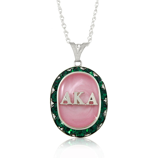 AKA Swarovski® Oval Classic Pink and Green Silver Necklace