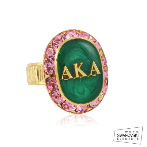"AKA Swarovski® ""Encrusted Jewel"" Oval Gold Ring"