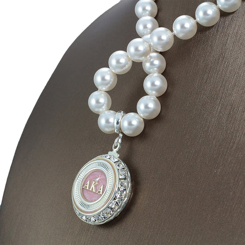 "Alpha Kappa Alpha Swarovski® Infinity ""Illustrious"" Necklace with Pearls"