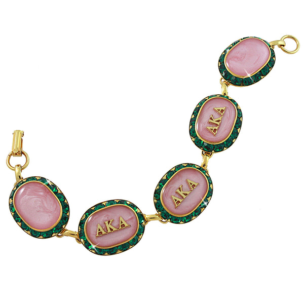 AKA Swarovski® Oval Classic Pink and Green Gold Bracelet