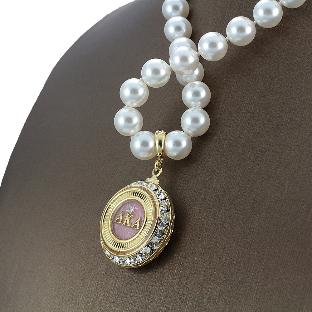 "Alpha Kappa Alpha Swarovski® Infinity ""Resplendent"" Necklace with Pearls"