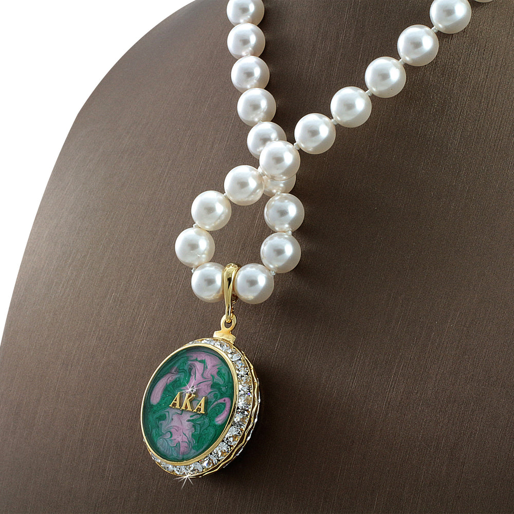 "Alpha Kappa Alpha Swarovski® Grande ""Lavish"" Necklace with Pearls"