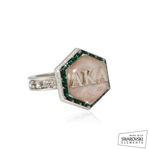 "AKA Swarovski® ""Emerald and Pink"" Starbella Silver Ring"