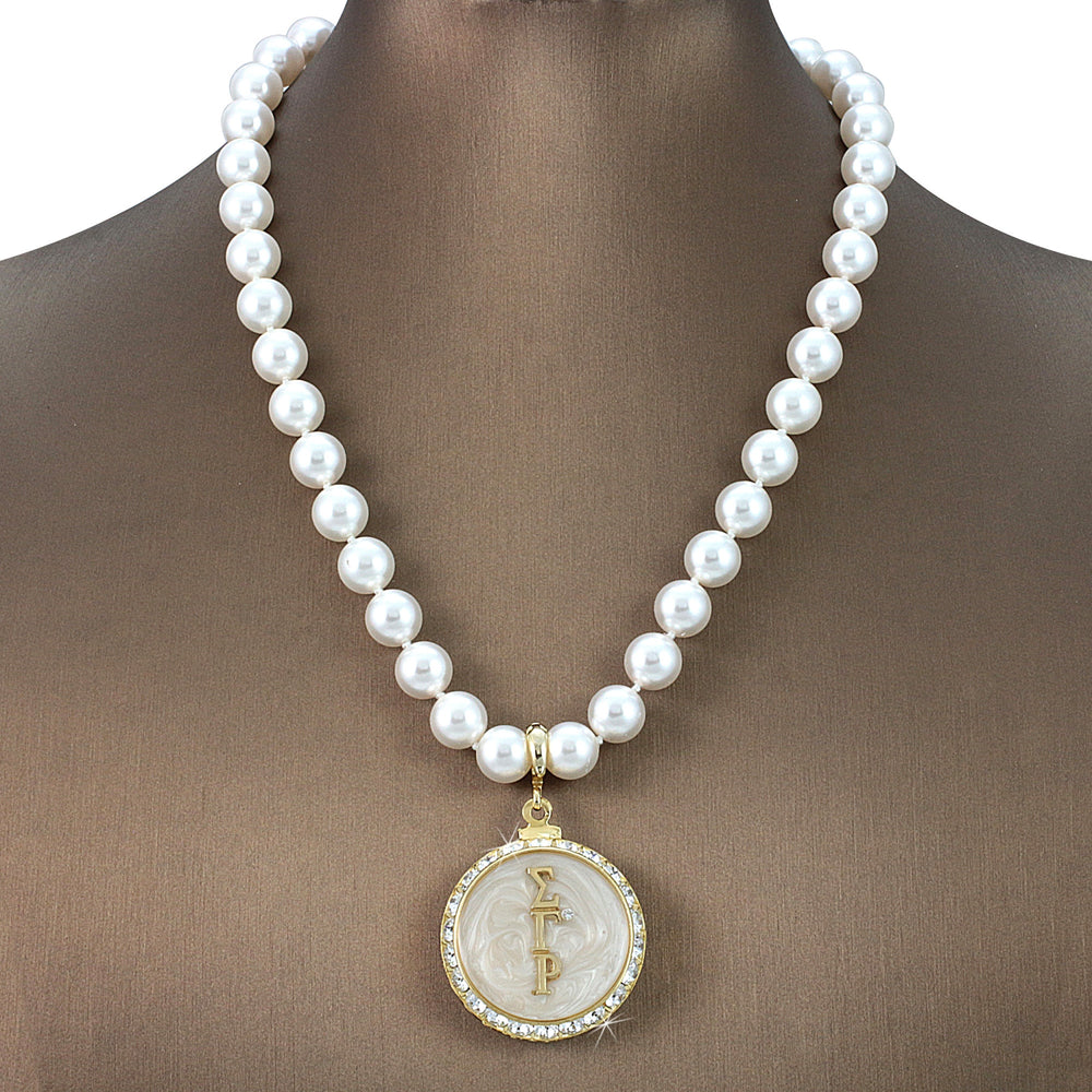 "Sigma Gamma Rho Swarovski® Grande ""Impeccable"" Necklace with Pearls"