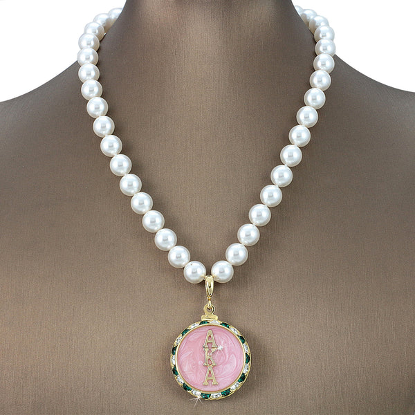 "Alpha Kappa Alpha Swarovski® Grande ""Posh"" Necklace with Pearls"