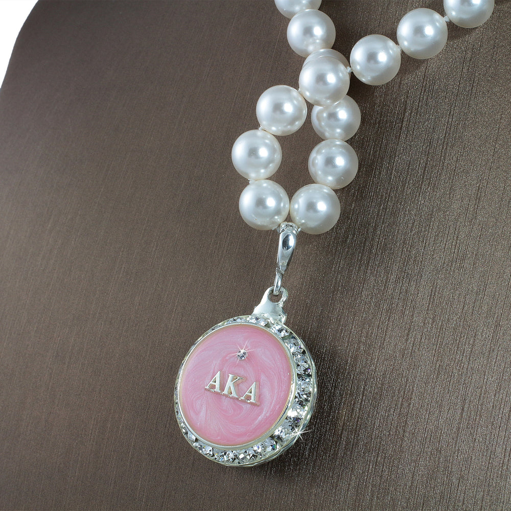 "Alpha Kappa Alpha Swarovski® Infinity ""Prive"" Silver Necklace with Pearls"