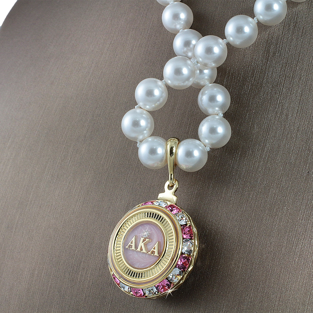 "Alpha Kappa Alpha Swarovski® Infinity ""Mystique"" Gold Necklace with Pearls"
