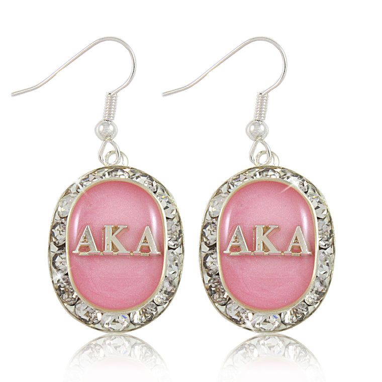 AKA Swarovski® Oval Classic Pink and Silver Earrings