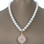"Alpha Kappa Alpha Swarovski® Infinity ""Prive"" Gold Necklace with Pearls"