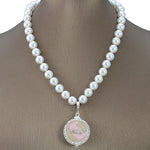 "Alpha Kappa Alpha Swarovski® Infinity ""Imperiale"" Necklace with Pearls"