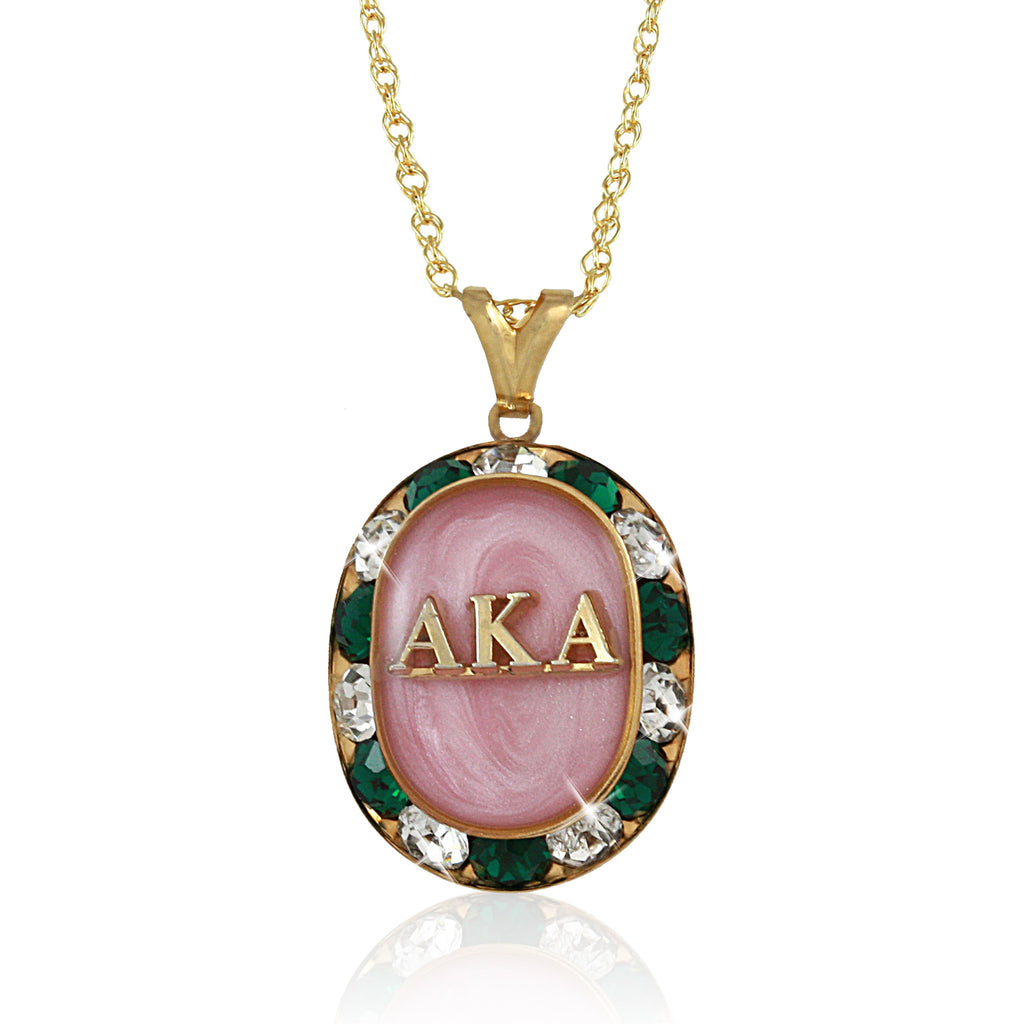 Renaissance Pink and Green Gold Necklace