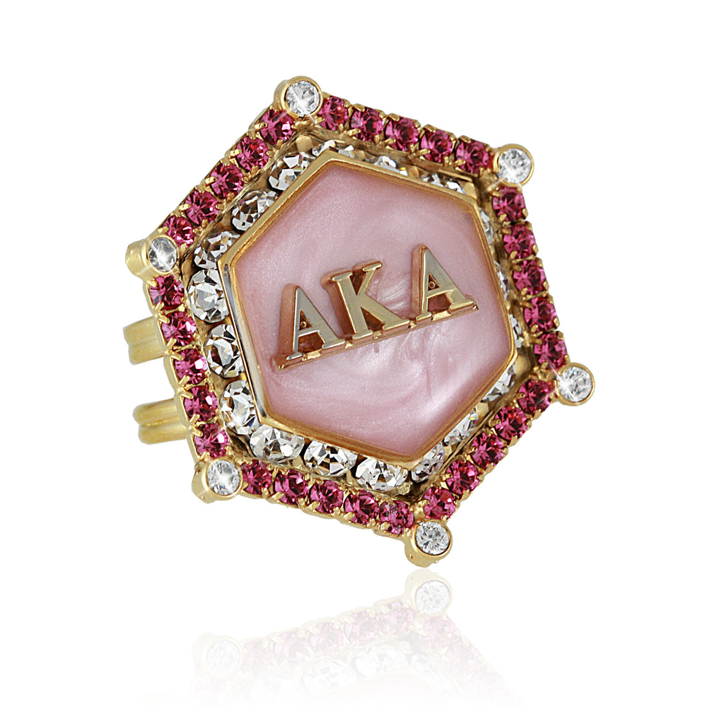"AKA Swarovski® ""True Pink"" Marbella Gold Ring"