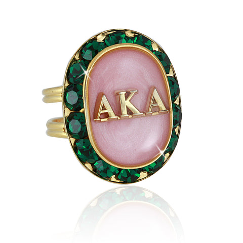 "AKA Swarovski® ""Ethereal"" Pink and Emerald Gold Ring"