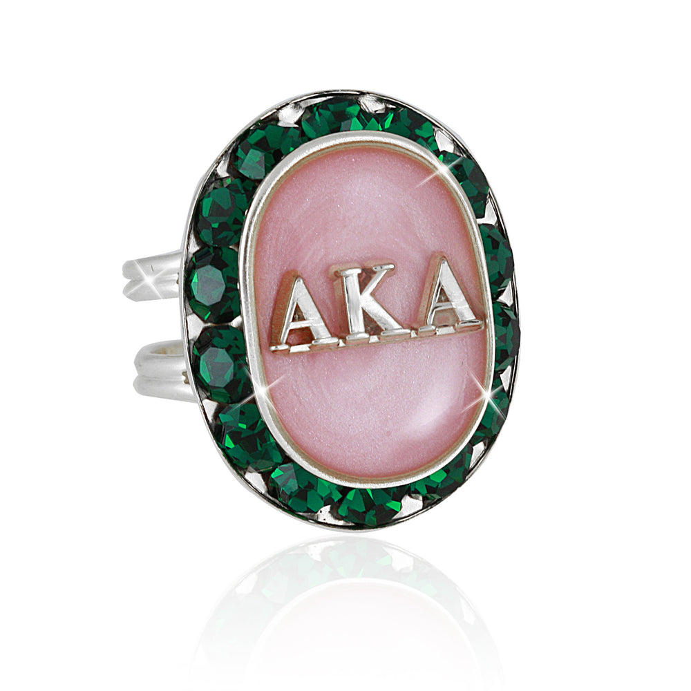 "AKA Swarovski® ""Ethereal"" Pink and Emerald Silver Ring"