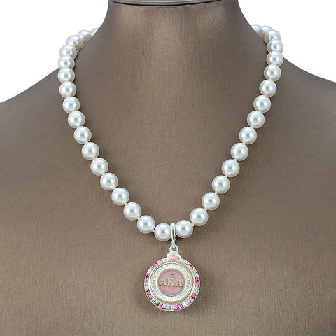 "Alpha Kappa Alpha Swarovski® Infinity ""Mystique"" Silver Necklace with Pearls"