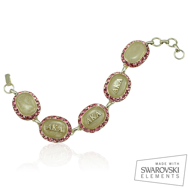 AKA Swarovski® Oval Classic Silver Limited Edition 'Rose and Crystal' Bracelet